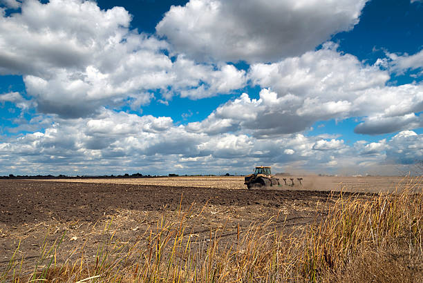 Tractor Plowing with Summer Clouds stock photo