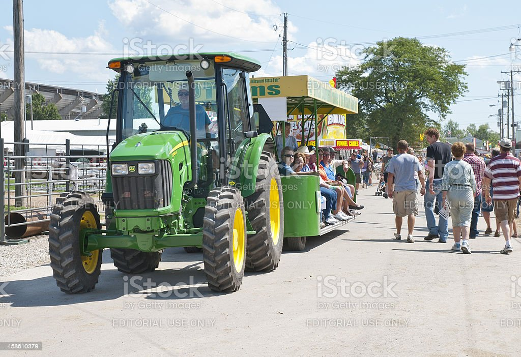 Tractor Pulling Tram Through Crowds At Missouri State Fair