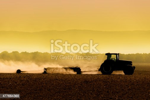 Muted, yellow, backlit silhouette of tractor raking soil