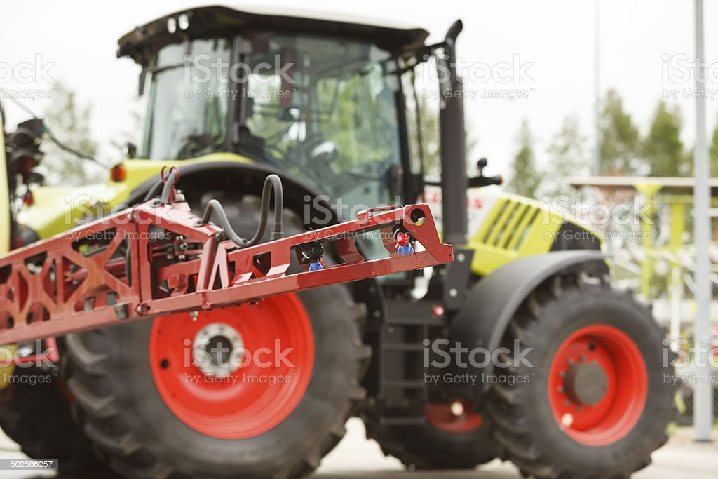 Tractor sprayer nozzle close-up stock photo