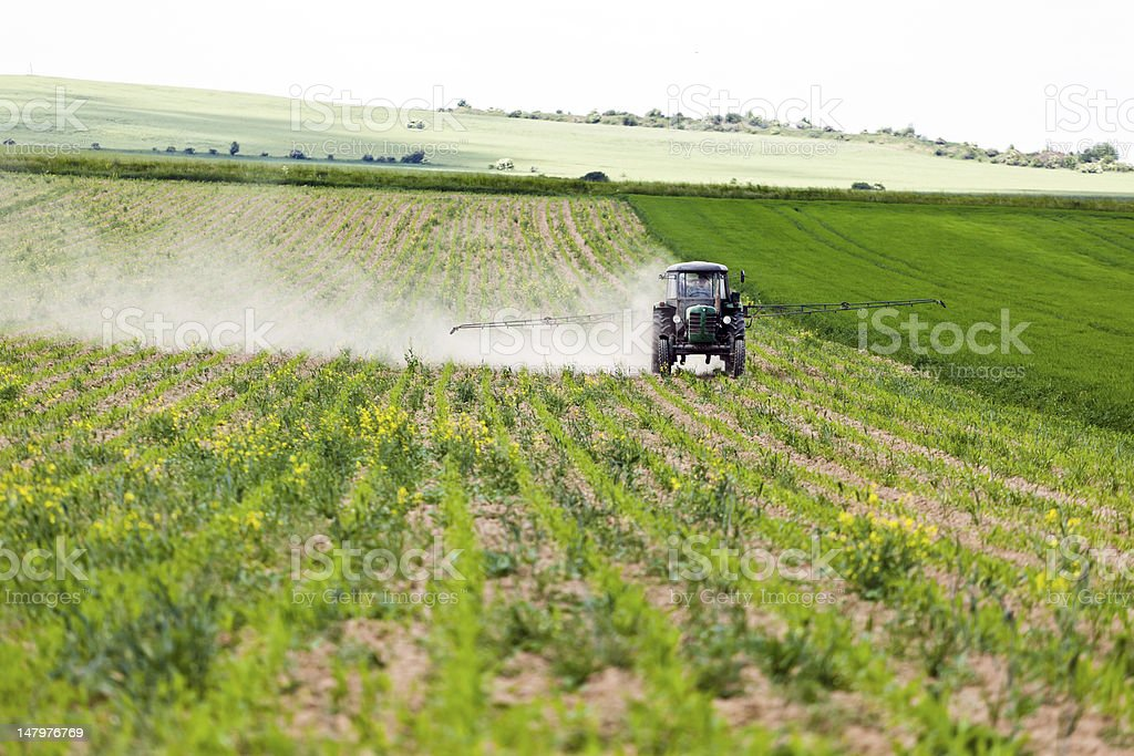 Tractor spraying, agriculture royalty-free stock photo
