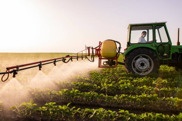 봄철 분무기로 대두밭에 살충제를 분사하는 트랙터 - 비료 뉴스 사진 이미지