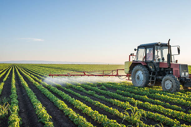 Tractor spraying Tractor spraying soybean field at spring crop sprayer stock pictures, royalty-free photos & images
