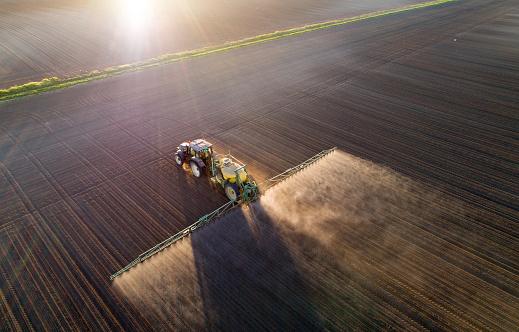 拖拉機在田間噴灑幼莊稼 照片檔及更多 俯視 照片