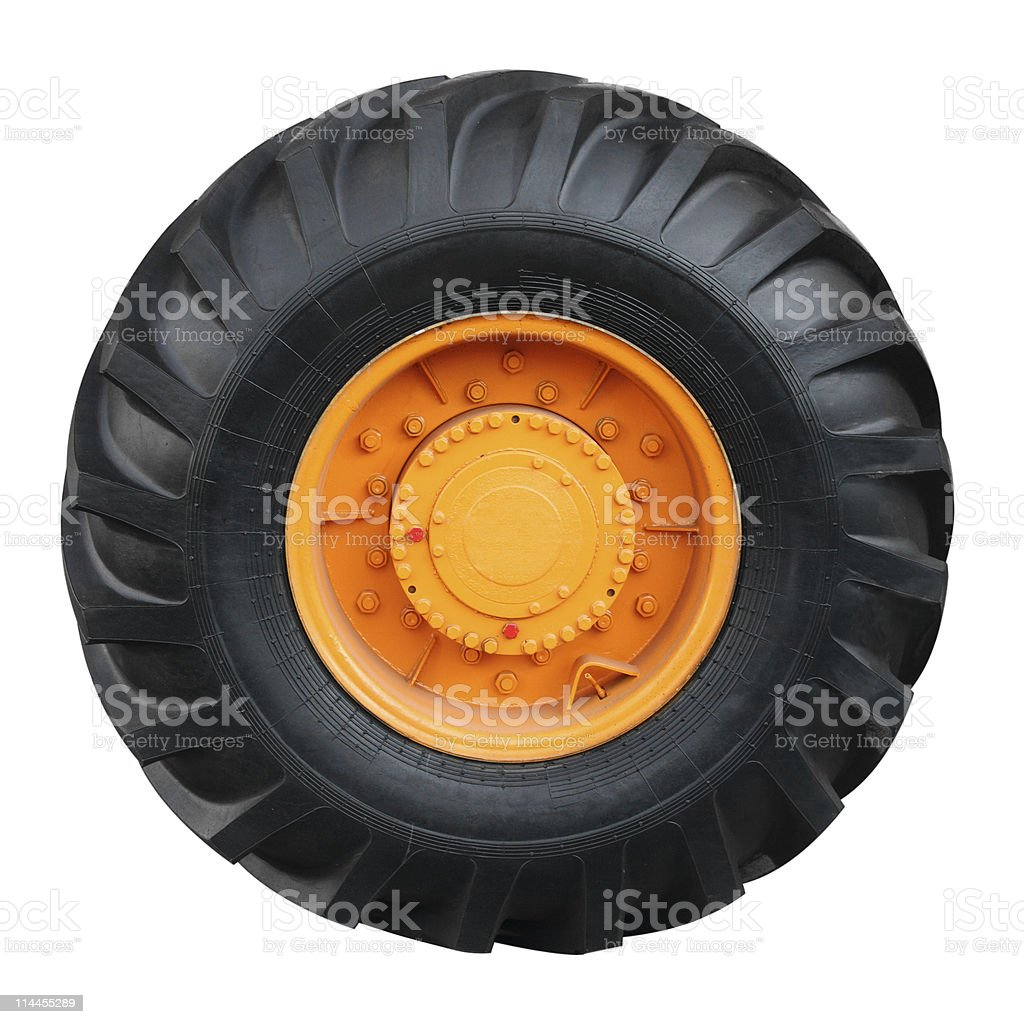 Tractor tire on white background stock photo