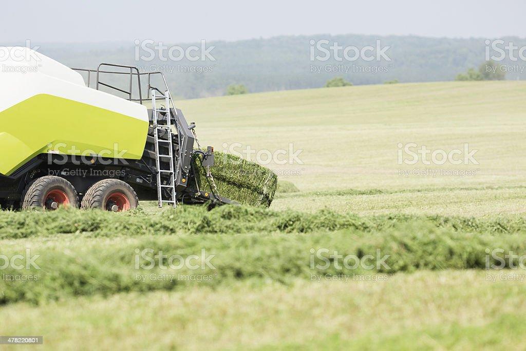 Tractor Towed Baler, Baling Alfalfa (Hay) stock photo