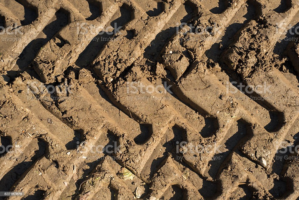 Tractor Tracks in the Mud stock photo