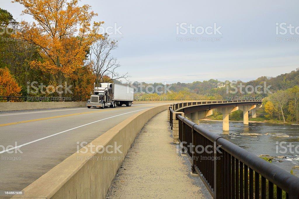 Tractor Trailer Crossing Shenandoah River stock photo