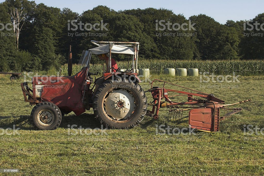 Tractor turning dried grass - hay stock photo
