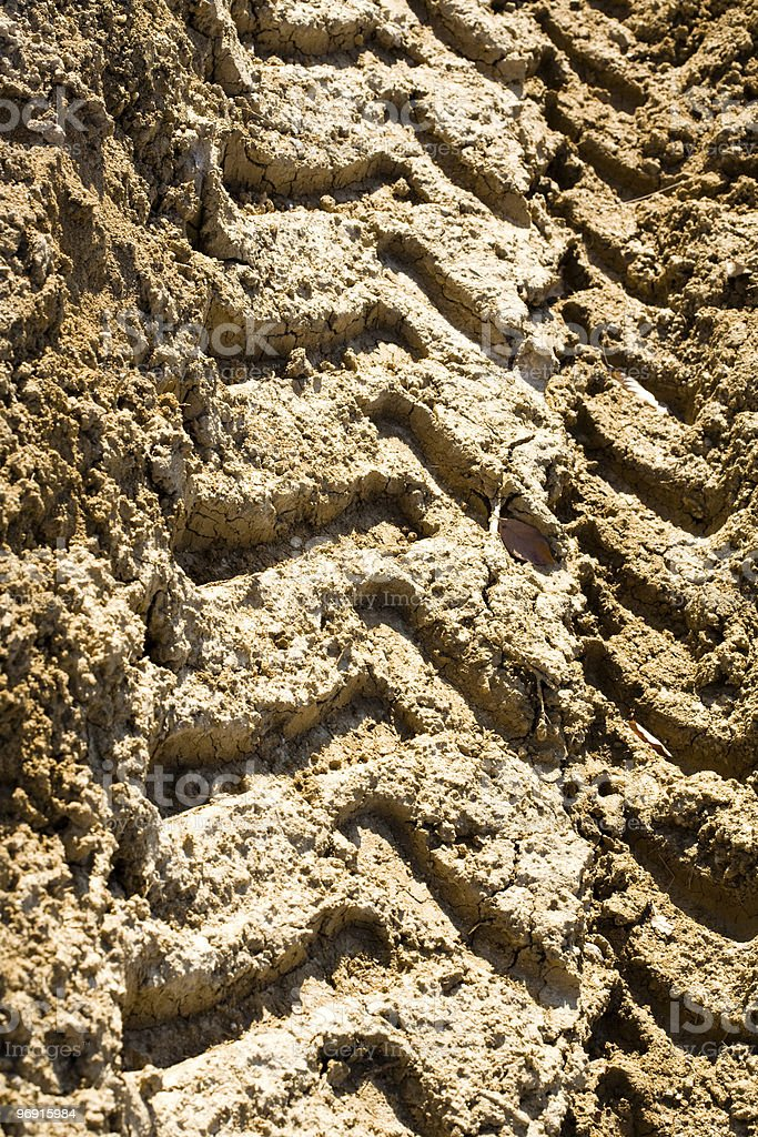 Tractor tyre tracks royalty-free stock photo