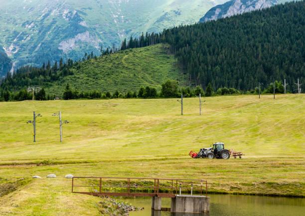 Traktör (Lamborghini R3) kışın bir kayak pisti olan bir açıklık üzerinde bir döner tırmık ile. stok fotoğrafı