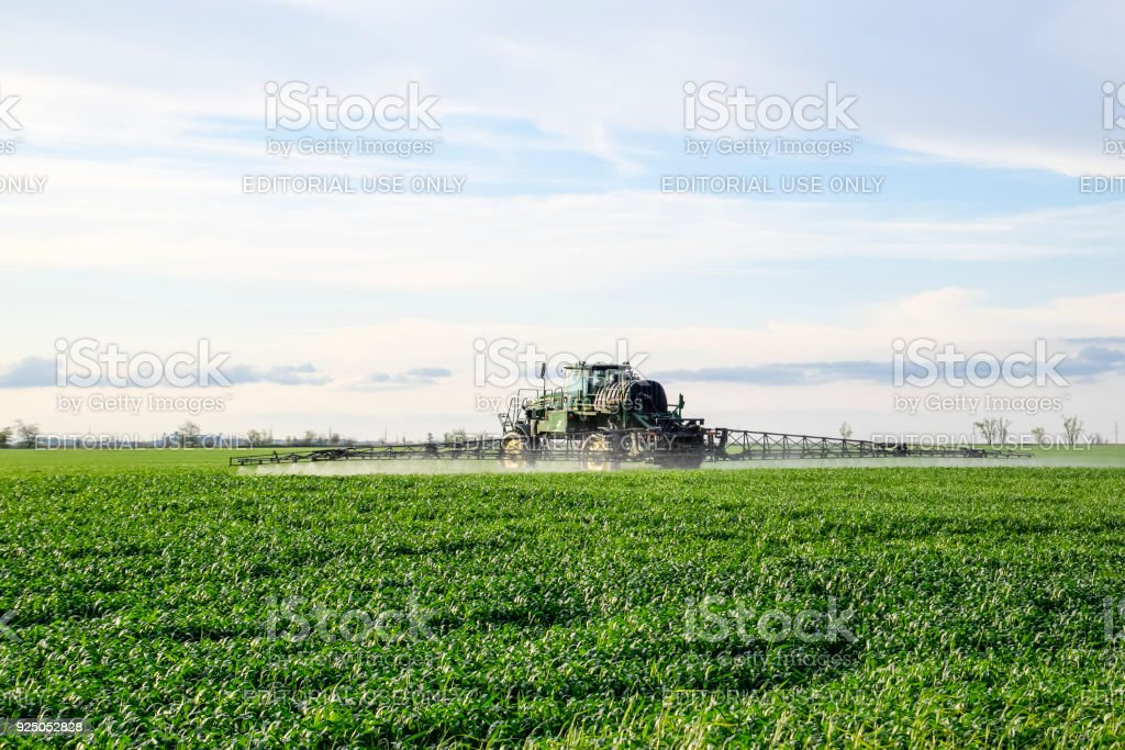 Tractor with a spray device for finely dispersed fertilizer. Tractor on the sunset background. Tractor with high wheels is making fertilizer on young wheat. The use of finely dispersed spray chemicals stock photo