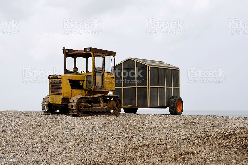 Tractor with fisherman's hut on wheels royalty-free stock photo