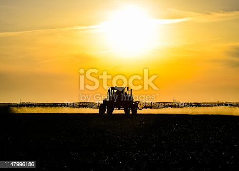 Tractor with the help of a sprayer sprays liquid fertilizers on young wheat in the field. The use of finely dispersed spray chemicals. Tractor on the sunset background.