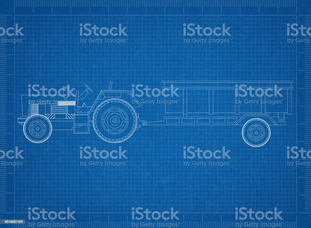 tractor with trailer blueprint royalty-free stock photo