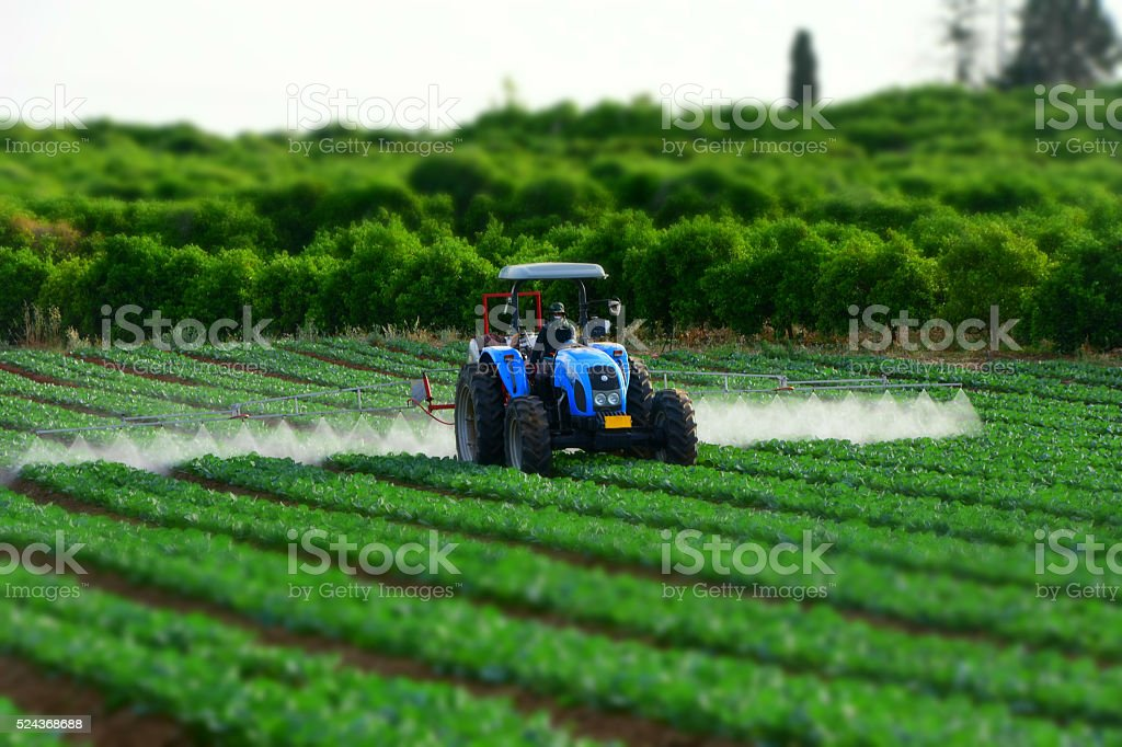 Tractor en el campo de trabajo - foto de stock