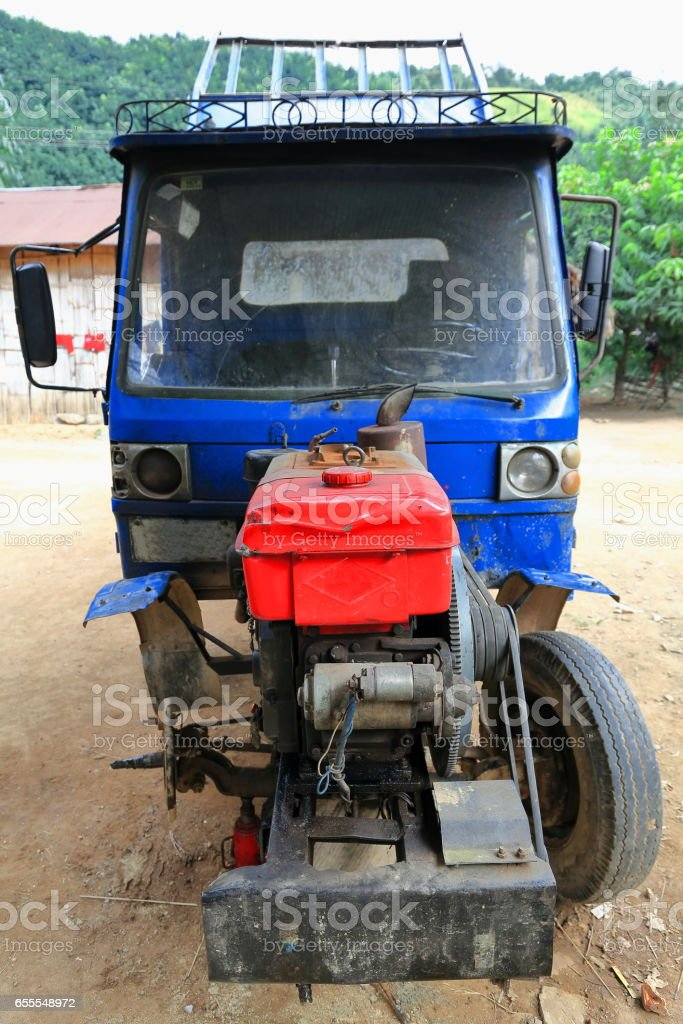 Tractor-Lanten hill tribe. Nam Ha conservation area-Luang Namtha province-Laos. 3523 stock photo