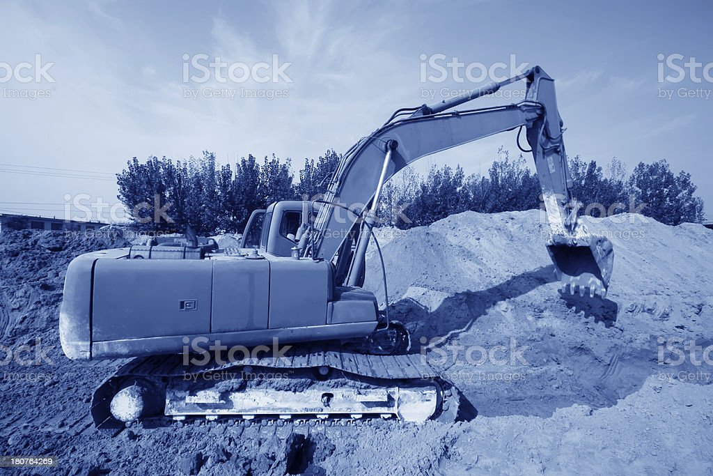 tractors in a construction site royalty-free stock photo