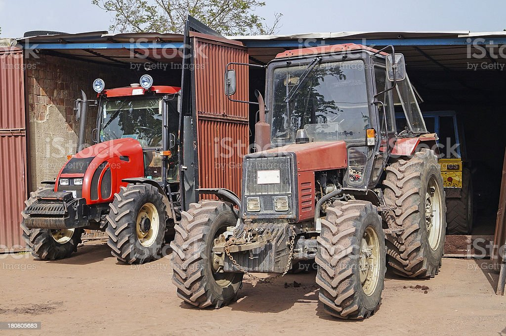 tractors in the garage royalty-free stock photo