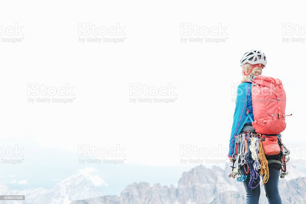 Trad climber in mountains stock photo