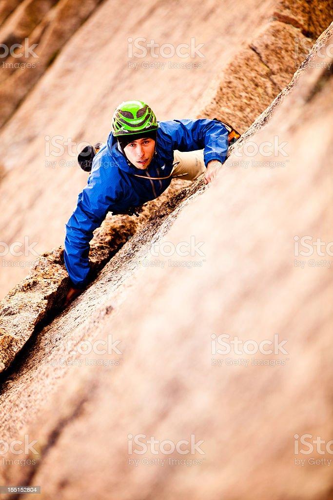 Trad Rock Climbing in Colorado royalty-free stock photo
