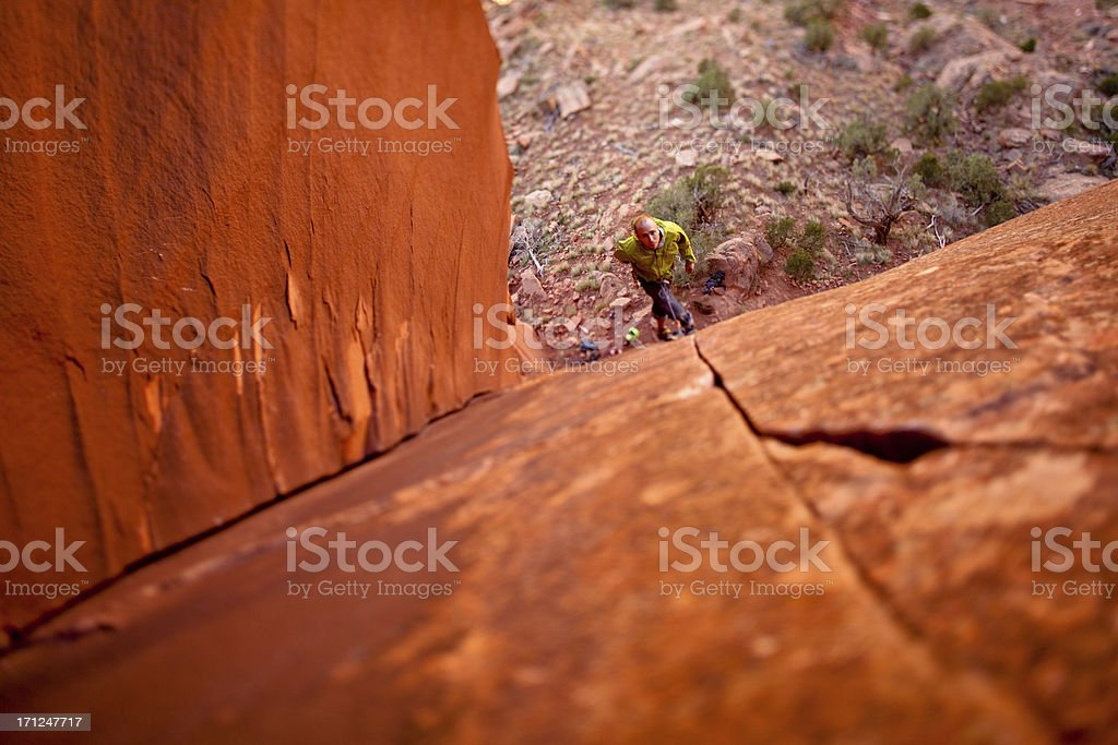 Trad Rock Climbing in Utah at Indian Creek stock photo
