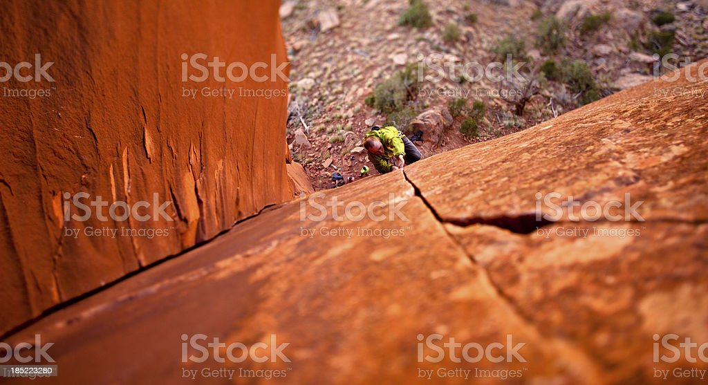 Trad Rock Climbing in Utah at Indian Creek royalty-free stock photo
