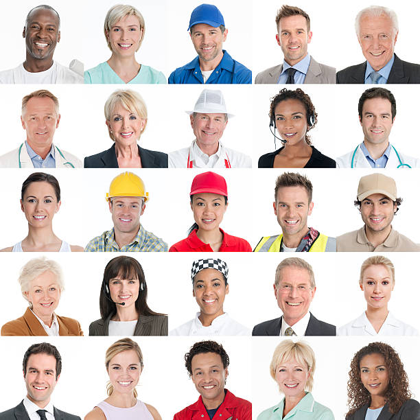 trade and business people - multi ethnic headshot portrait collage - row of heads stock photos and pictures