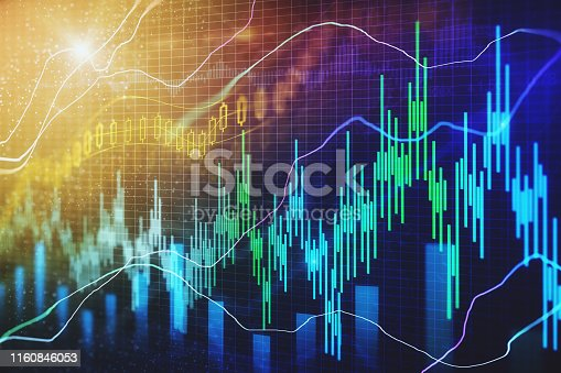 Creative forex chart texture with candlestick. Trade and finance concept. 3D Rendering
