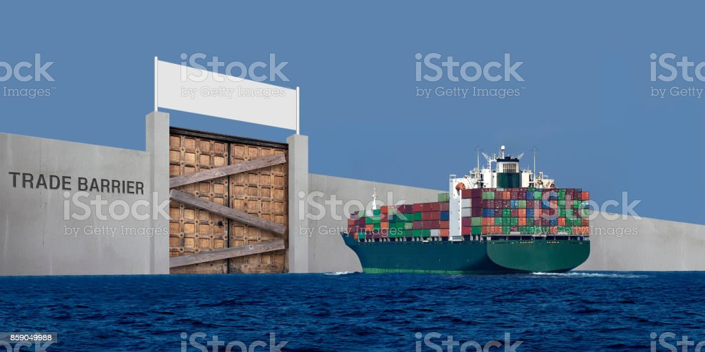 Trade barriers due to protection trade stock photo