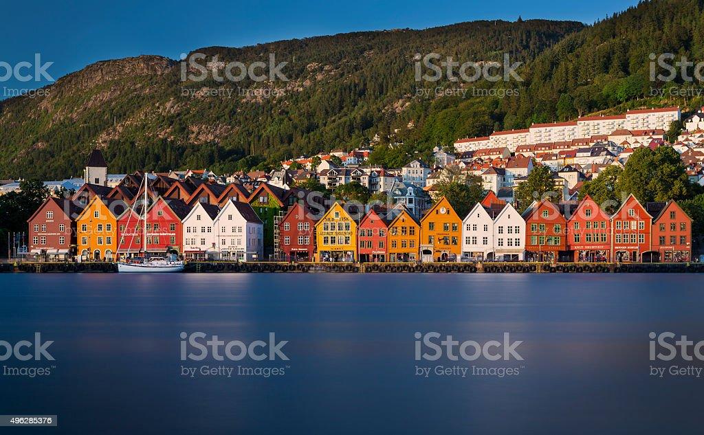 Trade houses of Bryggen in Bergen stock photo