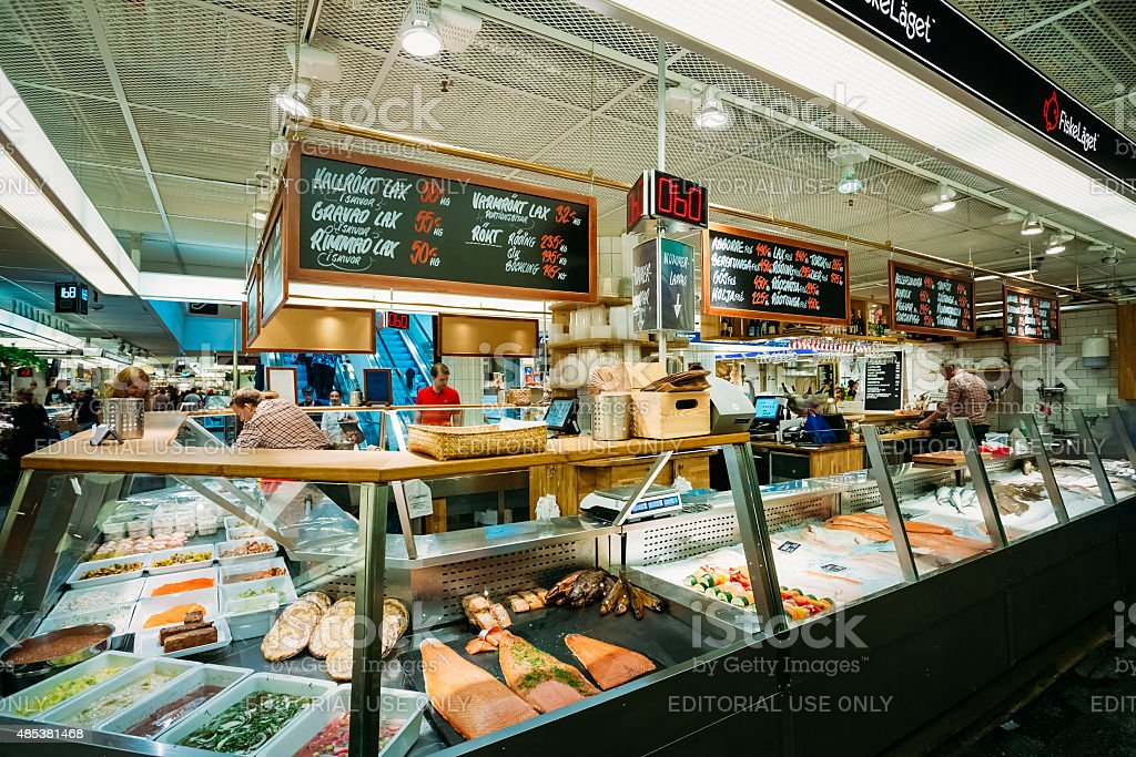 Trade in traditional Swedish seafood in market in Stockholm, Sweden stock photo
