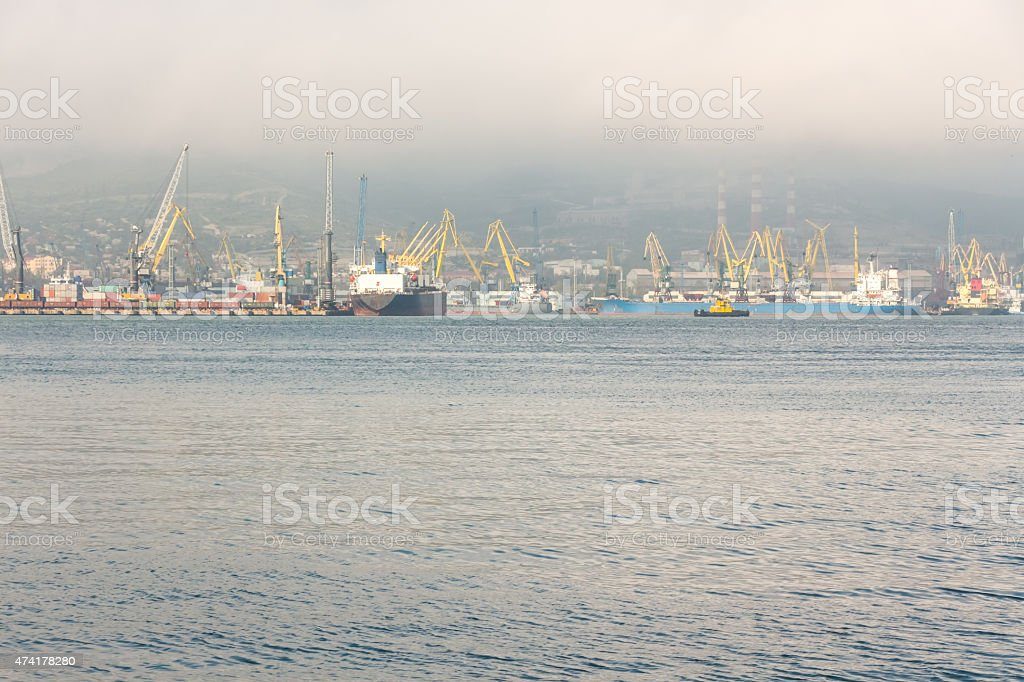 Trade port background while solid fog. stock photo