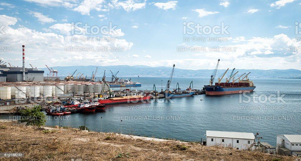 Trade port in Kocaeli, Turkey stock photo