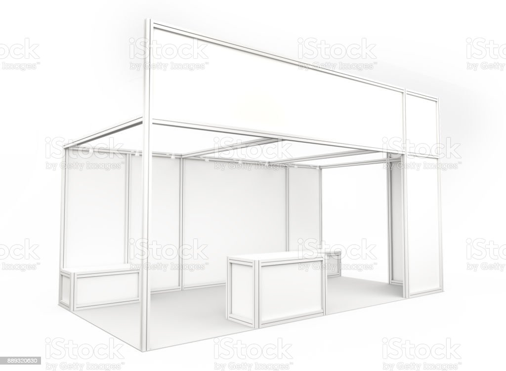 Trade show booth. 3d render stock photo