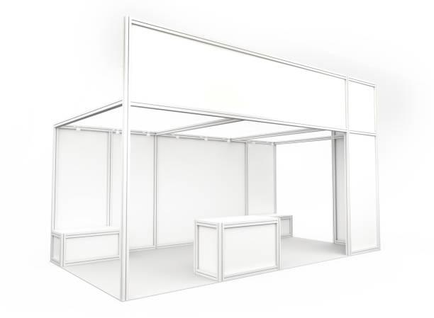 stand de demostración comercial. 3d render - stand fotografías e imágenes de stock