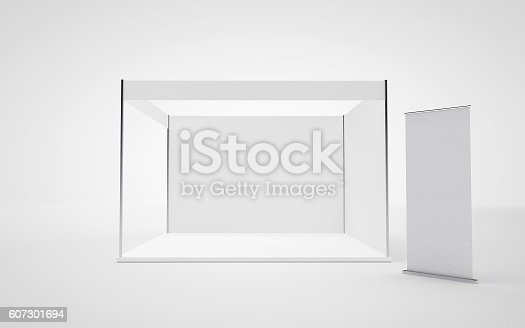 istock Trade show booth and Roll up. Mock up. 3D Render 607301694