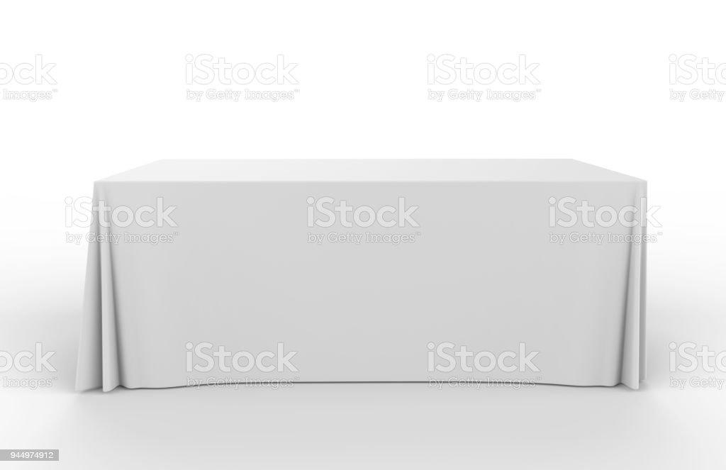 전시회 전시회 광고 러너 테이블 조절 피복 기치 또는 테이블 덮개. 3d 렌더링 그림입니다. royalty-free 스톡 사진