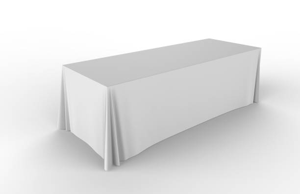 trade show exhibition advertising runner table adjustable cloth  banner or table cover. 3d render illustration. - carpet runner stock photos and pictures