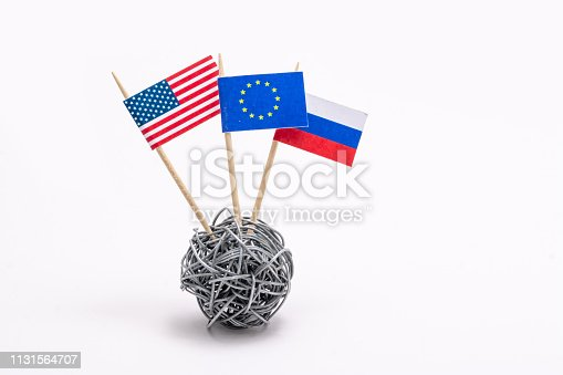 istock Trade war - economic and politic conflict betwen United States, European Union and Russia 1131564707