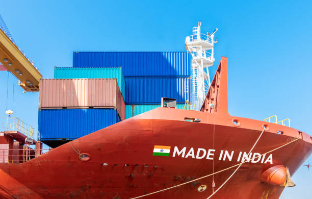 Trade war , Made in India smart logistic concept. Shipping Cargo ship business Container import and export company for Logistics and Transportation. Chinese investment toward Southeast Asia. stock photo
