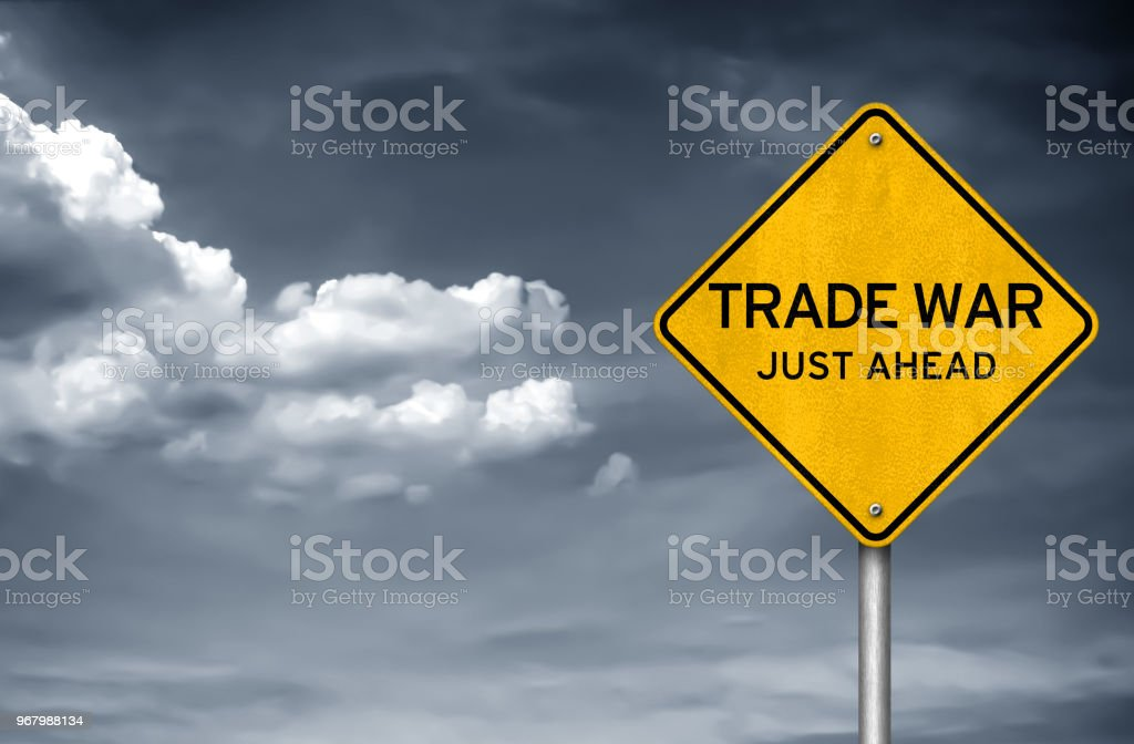 Trade War - street sign stock photo