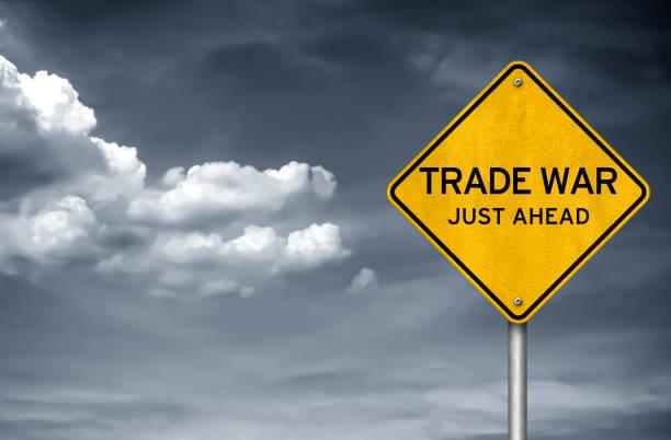 Handelskrieg - Straßenschild – Foto