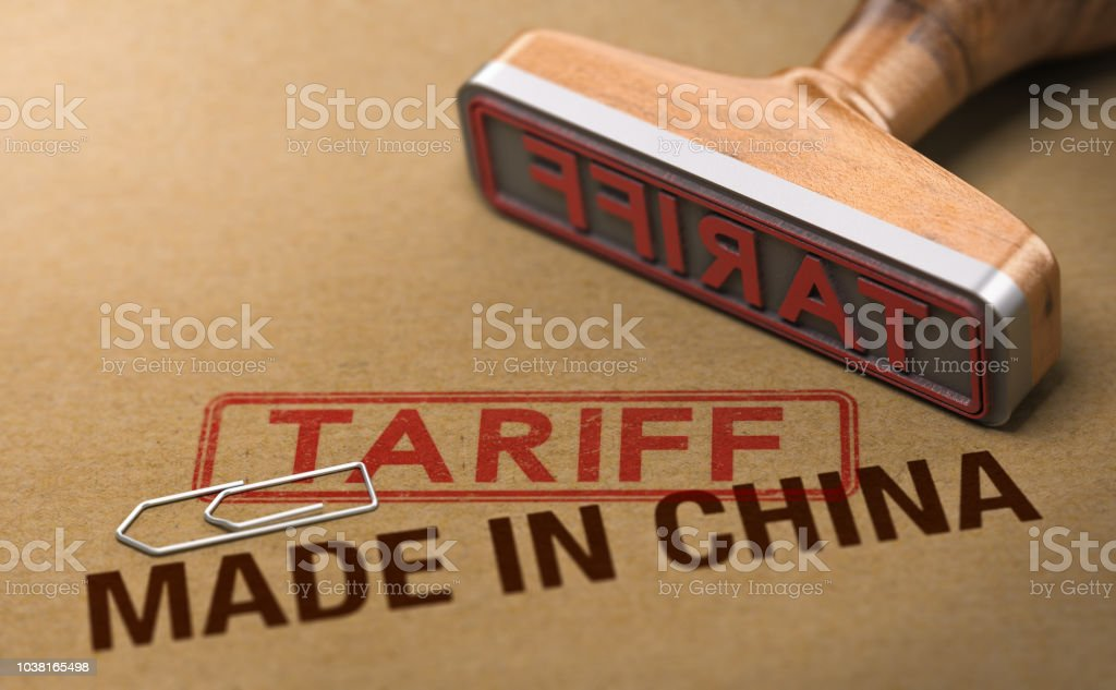 Trade War, Tariff For Goods and Products Made in China stock photo