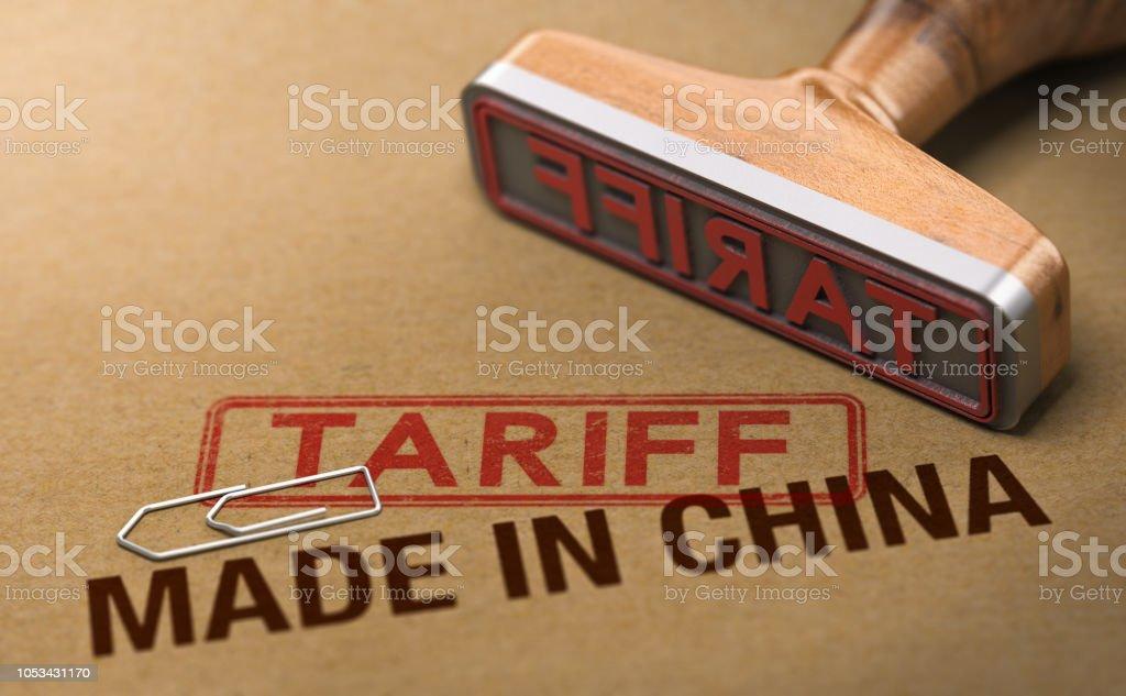 Handelskrieg, Tarif für waren und Produkte Made in China - Lizenzfrei China Stock-Foto