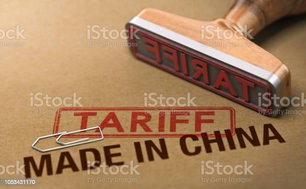 Handelskrieg Tarif Für Waren Und Produkte Made In China Stockfoto und mehr Bilder von China