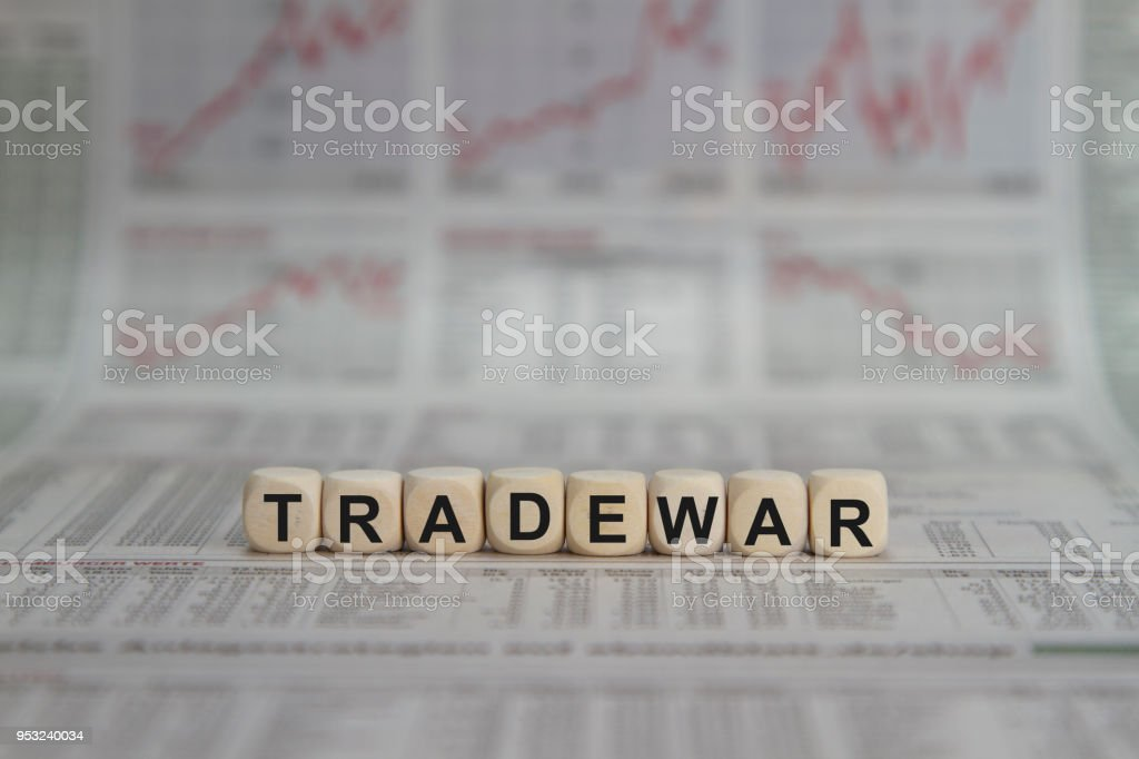 trade war word stock photo
