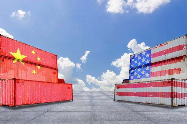 Trade warfare, export and import, tariffs, cargo containers, China and the United States stock photo