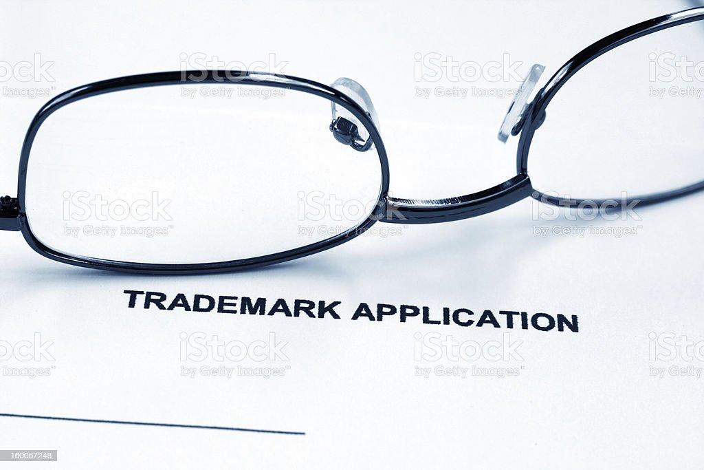 Trademark application stock photo