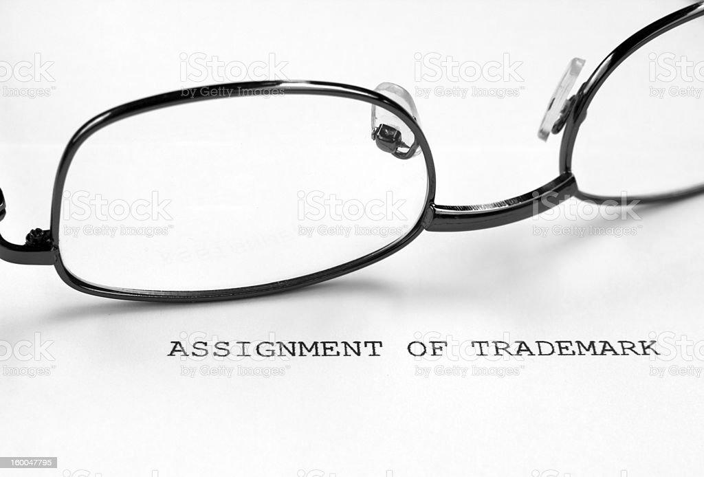Trademark assignment stock photo